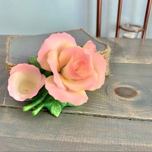 Vintage Accents - Vintage 1997 Small Roses Candle Holder Marked @YH